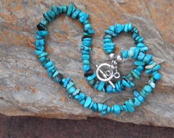 Stylish, Turquoise Nuggets and Sterling Silver Handmade Artisan Necklace