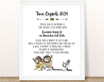 PRINTABLE Where the Wild Things Are Time Capsule, Baby Shower, Wild Things Baby, Wild One Birthday Party, First Birthday