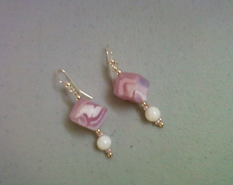 Pink and White Cube Earrings (0547)
