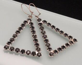 Black Rhinestone Triangle Earrings Vintage