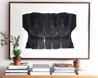 Abstract Art Print, Minimalist Extra Large Giclee Poster, Multiple Black Heads, 50x70/70x100/102x152