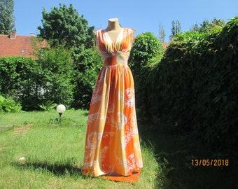 Long Sundress / Open Back Dress /  Backless Dress / Dress Maxi / Orange Dress / Dress Size EUR42 / UK14