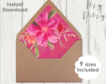Envelope liners template for you to print a home - Tropical fuchsia pink Wedding envelope liners - 9 sizes - Printable JPG Instant Download