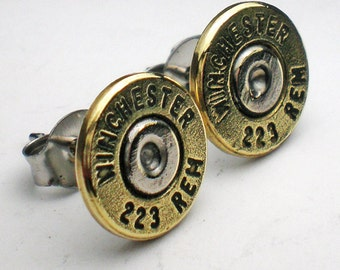 223 Winchester Brass Bullet Head Trendy Earrings