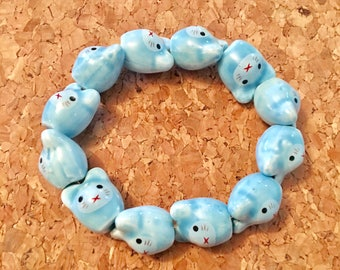 Hand painted ceramic beads mouse mice elastic stretch bracelet