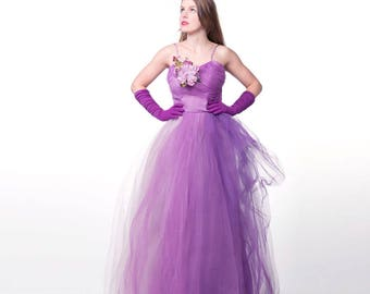 50s Lavender Purple Frothy Long Dress with Flower - Party Prom S
