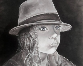 painting portrait of girl black and white with Hat