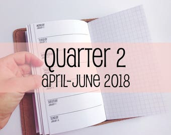 Traveler's Notebook PERSONAL Size Week on One Page with Grid {Q2   April-June 2018} #700-22