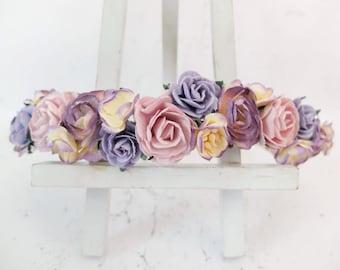 Dusty purple flower crown - rose crown - floral hair wreath - flower headpiece - flower hair accessories