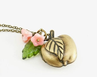 20%OFF SALE Apple Locket Necklace with Apple Blossoms and Leaf, Teacher Gift, Apple Necklace, Apple Jewelry, Graduation Gift