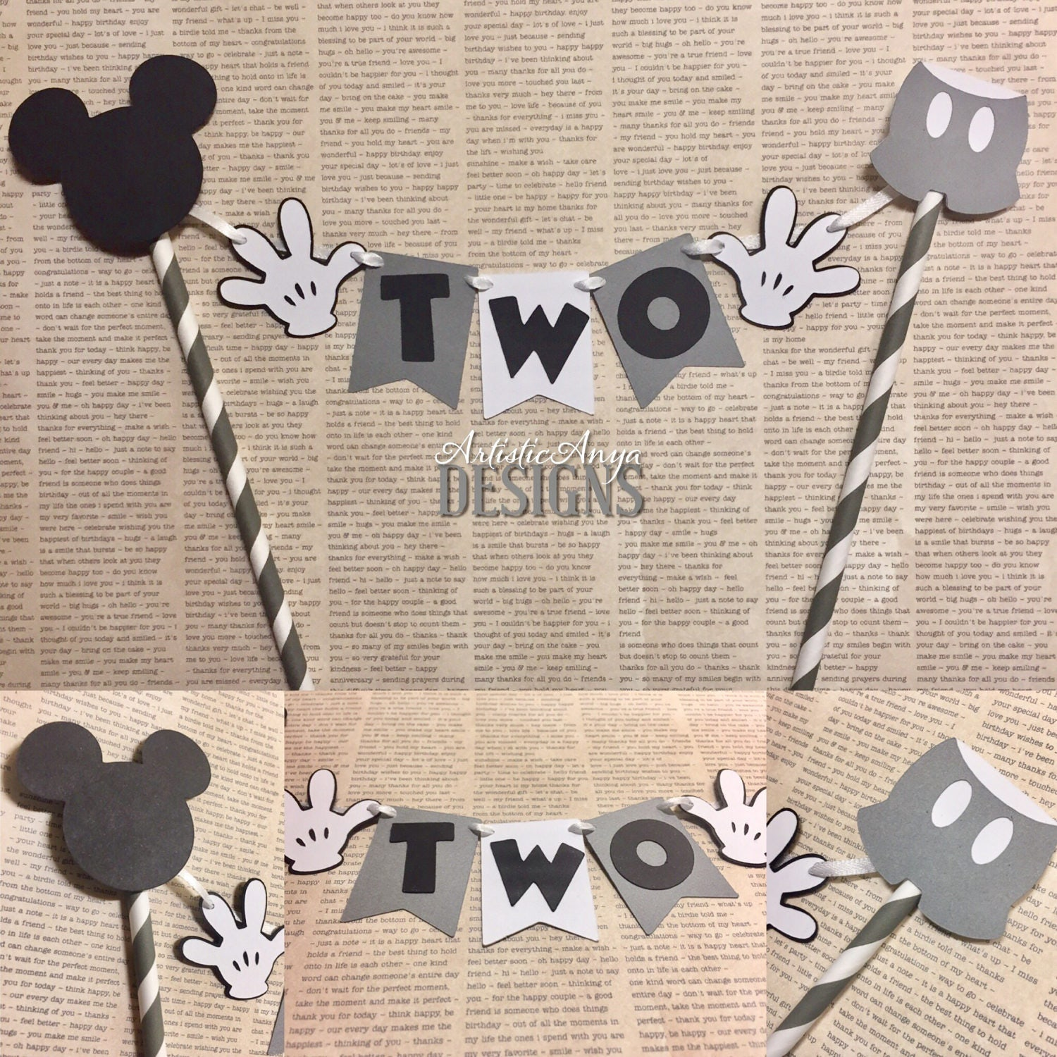 Vintage Retro Mickey Mouse Birthday Age Cake Bunting Topper