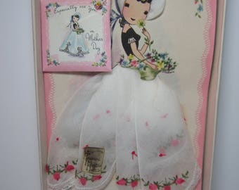Adorable 1950's-60's unused novelty Treasure Masters made in Switzerland mothers day card pretty girl with hankie as dress and bonnet,sachet