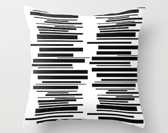 White Throw Pillow Cover, Modern Pillow Cover, Black & White Pillow Cover, Mid Century Pillow Cover,  Decorative Pillow Cover