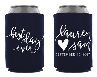 Best Day Ever Wedding Can Cooler, Personalized Wedding Can Cooler, Custom Wedding Can Hugger, Best Day Ever, Wedding Favor