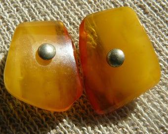 Vintage Natural Baltic Amber Stone Cuff links Latvian Stile
