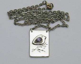 Cute Silver Bird Necklace, Handmade Silver Bird Necklace, Purple Cubic Zirconia Necklace, Bird Lover Jewelry, February Birthstone, Amet