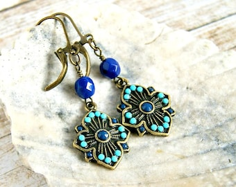 blue drop earrings, boho jewelry, colorful jewelry, hippie earrings, gift for her