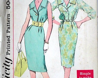 Vintage 60's Simplicity 2429 Sewing Pattern, Misses' One-Piece Dress, Simple to Make, Size 12, 32 Bust, Mad Men 1960's Fashion