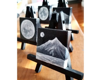 2x2 Mini Moon and Mountain Acrylic Painting - Canvas - Painted Sides - Varnished - Mini Easel