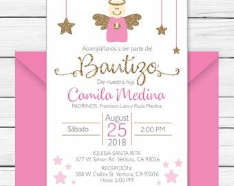 Baptism Invitation In Spanish Printable Girl - Invitacion Bautismo En Espanol Para Imprimir. Invitacion Español Para Niñas - Angel