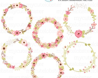 Floral Wreaths Clipart Set - floral frames, flower frames, wreaths clip art, flowers - personal use, small commercial use, instant download
