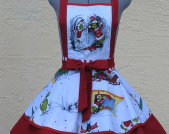 The Grinch Apron- Double Sexy Pin Up Apron - How the Grinch Stole Christmas-Limited Edition-Beautiful and Unique