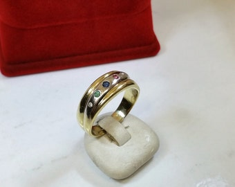 Ring gold 585 ruby sapphire emerald diamond GR126