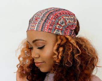 Wide Headband Turband Head Wrap Red Gray White Boho Abstract HeadBand Yoga Head Wrap Fitness Head Wrap Gifts for Her