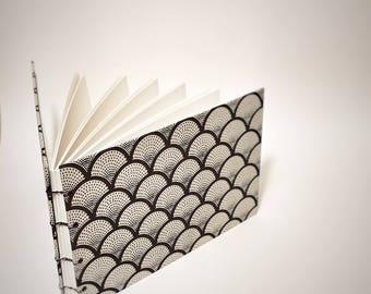 white with black scallops coptic bound wedding guest book - lined wedding guestbook - small wedding guest book - unlined wedding guest book
