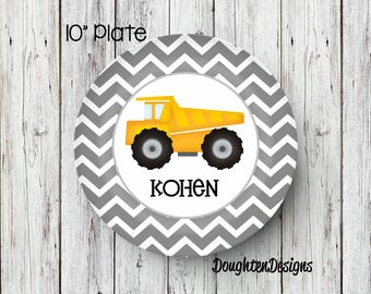 Personalized Melamine Plate, Dump Truck plate, Truck kids plate, personalized kids plate, Personalized Plate, Kids Plate, Melamine Plate