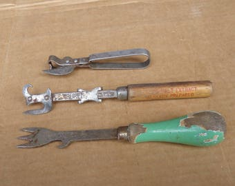 vintage openers lot,can bottle openers,sure cut can opener,kitchen utensils junk drawer tools