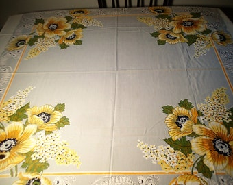 Tablecloth Vintage Fabric  bright yellow flowers - cutter, fabric for crafts, decor fabric