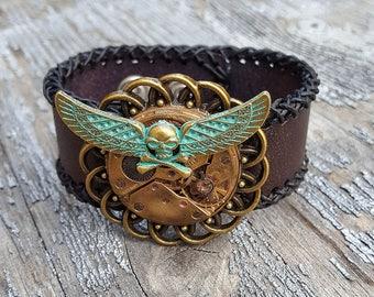 Flying Skull Steampunk Cuff Bracelet -Watch parts vintage Bracelets-wristband cuffs - amazing steampunk outfit ladies girls bikers gift