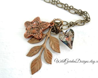 Forest Charm Necklace Mothers Day Nature Gift Woodland Branch Leaf Necklace Swarovski Crystal Heart Necklace Forest Tree Spirit Totem