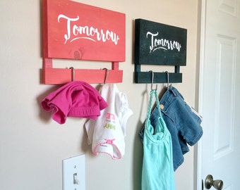 Laundry Organizer, Kids Hamper, Wood Sign for Hanging Tomorrow's Clothes, Laundry Room Sign, Hanging Panel 2 Clothing Hooks, Room Organizer
