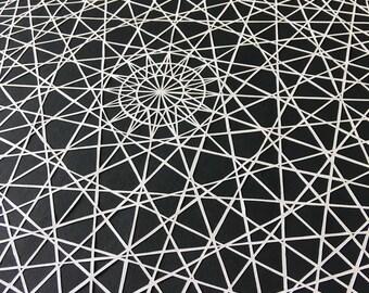 Disco Zen; hand cut paper illustration, graphic mandala, sacred geometry
