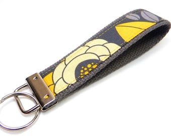 Key Fob/ Wristlet/ Keychain / Aviary 2/ Joel Dewberry/Flowers/ Charcoal and Yellow