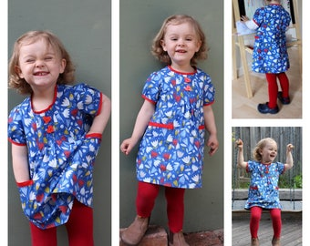 Girls dress sewing pattern Shelley Dress/Tunic/Blouse pdf sewing pattern, girls & babies 00-8 years, multiple options pattern