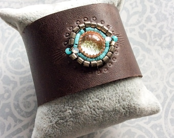 Dichroic Glass Beaded Leather Cuff Brown