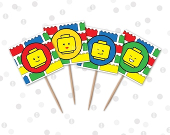 INSTANT DOWNLOAD - Cupcake Toppers - Building Bricks Printable Party Collection by InkoHaus - 4 Designs - PDF