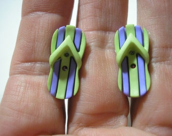 "Play Earring - Clip or Pierced - Flip Flop - Green/Purple - 1/2""x3/4"""