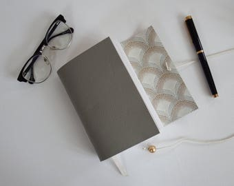 Grey Leather Wrap Journal, Hand Bound Leather Wedding Journal Planner, art deco gift journal, Blank Book, Gratitude Journal, Leather Noteboo