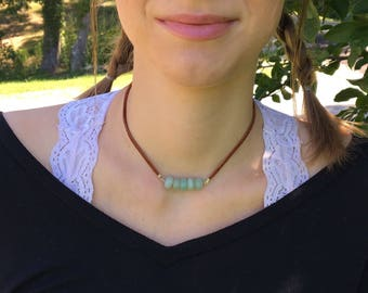 Green Aventurine Necklace / Leather Necklace / Gemstone Jewelry / Boho Necklace / Adjustable Necklace / Boho Jewelry / Jade / Minimalist