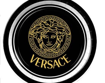 Versace Inspired Custom Black Plates Cups or Plates