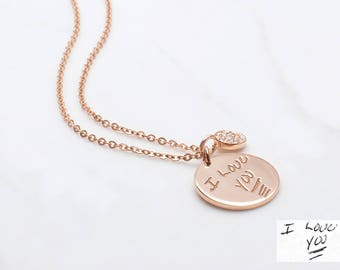 Handwritten Necklace with Button Charm • Custom Handwriting Necklace • Handwritten Jewelry • Signature Disc Necklace • CHN02