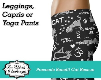 Cat Yoga Pants Leggings Capri Workout Tights Crazy Cat Lady Clothing Womens Clothes  Cat Rescue Gift for Her Cat Print Cat Lover Cat Love