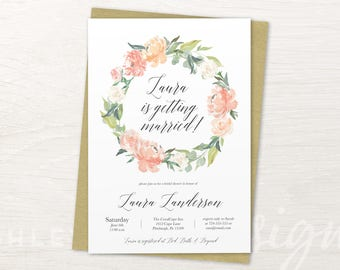 Bridal Shower Invitation Floral Watercolor, Bridal Shower Invitation Flower, Bridal Shower Invitation Floral