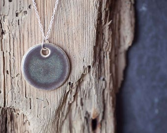 """Grey Ceramic Circle Pendant ~ Necklace ~ Jewellery ~ Handmade ~ Sterling Silver ~ 925 ~ 18"""" Chain ~ Gifts For Her"""