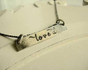 You Are Loved Hand Stamped Pewter Sliding Pendant, Girlfriend, Best Friend, Mother, Daughter, Wife, Partner