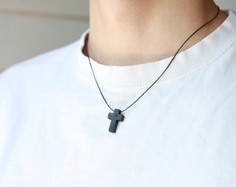 Men's Cross Necklace , Necklace for men, Wood Cross charm, black cord, gift for him,Cross Necklace